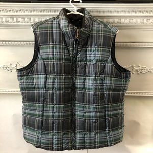 Eddie Bauer down filled vest green plaid XL